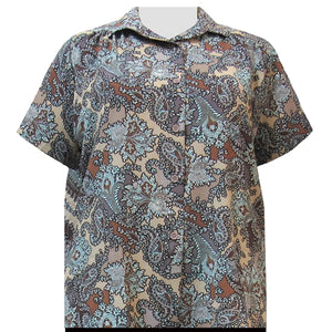 Taupe Paisley Floral Short Sleeve Tunic with Shirring Women's Plus Size Blouse