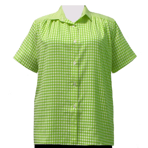 Lime Gingham Short Sleeve Tunic with Shirring Women's Plus Size Blouse