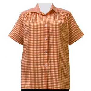 Orange Gingham Short Sleeve Tunic with Shirring Women's Plus Size Blouse