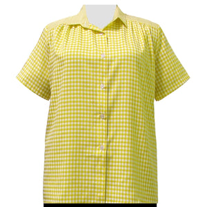 Yellow Gingham Short Sleeve Tunic with Shirring Women's Plus Size Blouse