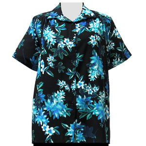 Aqua Botanic Short Sleeve Tunic with Shirring Women's Plus Size Blouse