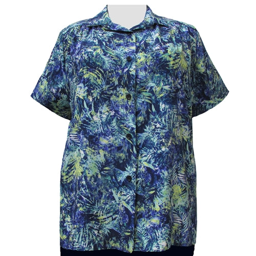 Blue & Green Floral Short Sleeve Tunic with Shirring Women's Plus Size Blouse