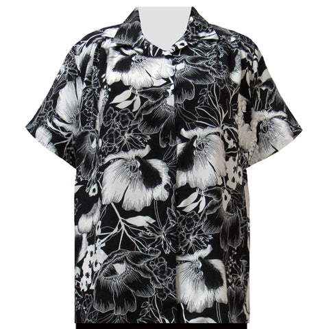Black & White Blossoms Short Sleeve Tunic with Shirring Women's Plus Size Blouse