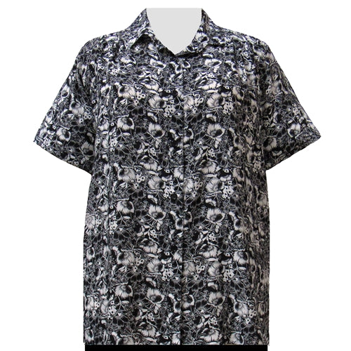 Black & White Floral Garden Short Sleeve Tunic with Shirring Women's Plus Size Blouse