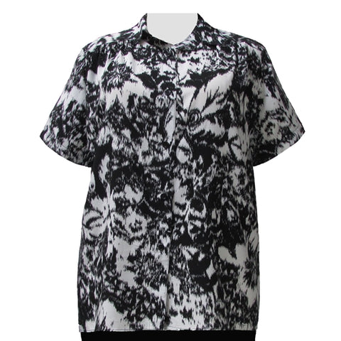 Black & White Static Short Sleeve Tunic with Shirring Women's Plus Size Blouse