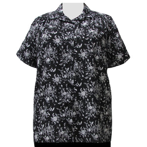 Black & White Wildflowers Short Sleeve Tunic with Shirring Women's Plus Size Blouse