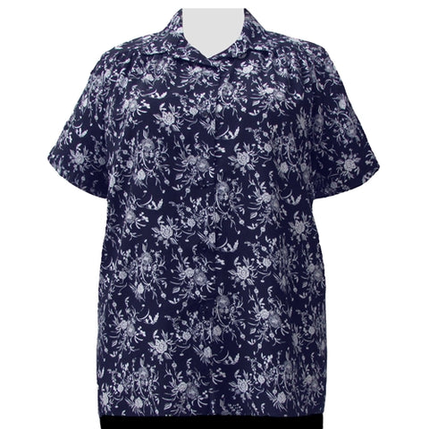 Navy & White Wildflowers Short Sleeve Tunic with Shirring Women's Plus Size Blouse