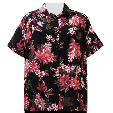 Pink Botanic Short Sleeve Tunic with Shirring Women's Plus Size Blouse