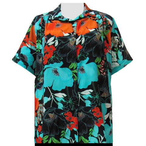 Turquoise Blossoms Short Sleeve Tunic with Shirring Women's Plus Size Blouse