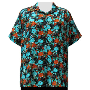 Turquoise Floral Garden Short Sleeve Tunic with Shirring Women's Plus Size Blouse