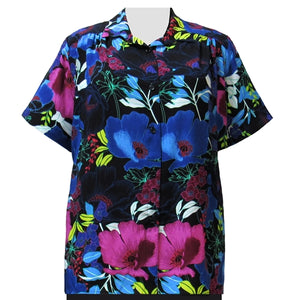 Vibrant Blossoms Short Sleeve Tunic with Shirring Women's Plus Size Blouse