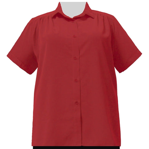 Red s.s. tunic w/shirring (crushed peachskin) Women's Plus Size Blouse