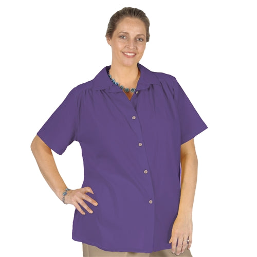 Purple Cotton Gauze Short Sleeve Tunic with Shirring Women's Plus Size Blouse