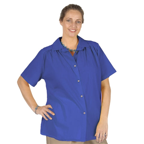 Royal Cotton Gauze Short Sleeve Tunic with Shirring Women's Plus Size Blouse