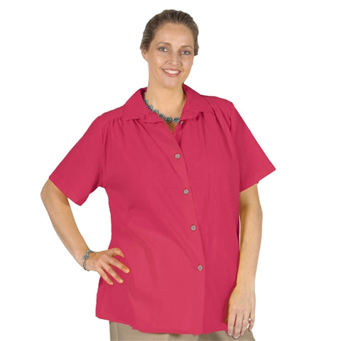 Strawberry Cotton Gauze Short Sleeve Tunic with Shirring Women's Plus Size Blouse