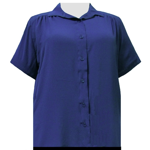Sapphire Short Sleeve Tunic with Shirring Women's Plus Size Blouse
