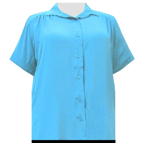 Turquoise Short Sleeve Tunic with Shirring Women's Plus Size Blouse
