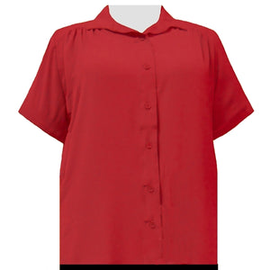 Candy Apple Red Short Sleeve Tunic with Shirring Women's Plus Size Blouse