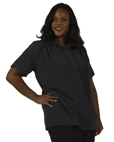Black Short Sleeve Tunic with Shirring Women's Plus Size Blouse