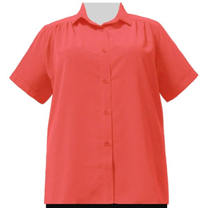 Bright Coral Short Sleeve Tunic with Shirring Women's Plus Size Blouse