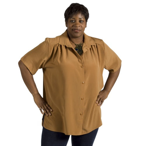 Honey Short Sleeve Tunic with Shirring Women's Plus Size Blouse