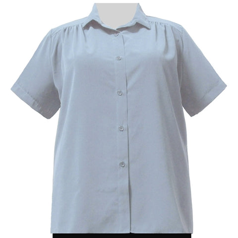 Light Blue Short Sleeve Tunic with Shirring Women's Plus Size Blouse