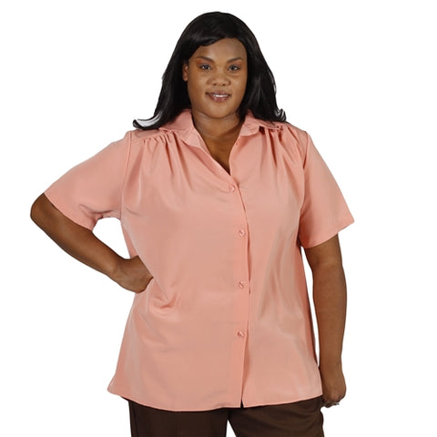 Melon Short Sleeve Tunic with Shirring Women's Plus Size Blouse