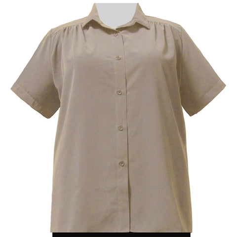 Taupe Short Sleeve Tunic with Shirring Women's Plus Size Blouse