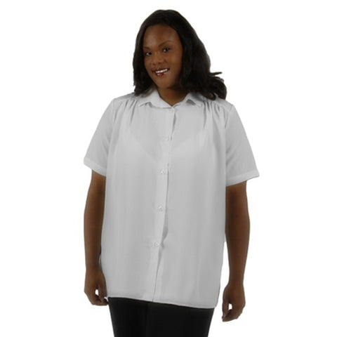 White Short Sleeve Tunic with Shirring Women's Plus Size Blouse