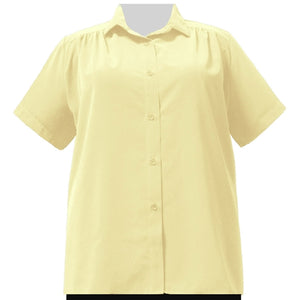 Yellow Short Sleeve Tunic with Shirring Women's Plus Size Blouse