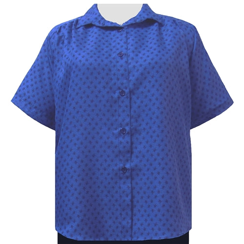 Blue Floating Leaves Short Sleeve Tunic with Shirring Women's Plus Size Blouse