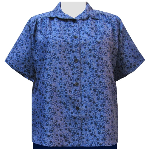 Blue Le Cirque Short Sleeve Tunic with Shirring Women's Plus Size Blouse