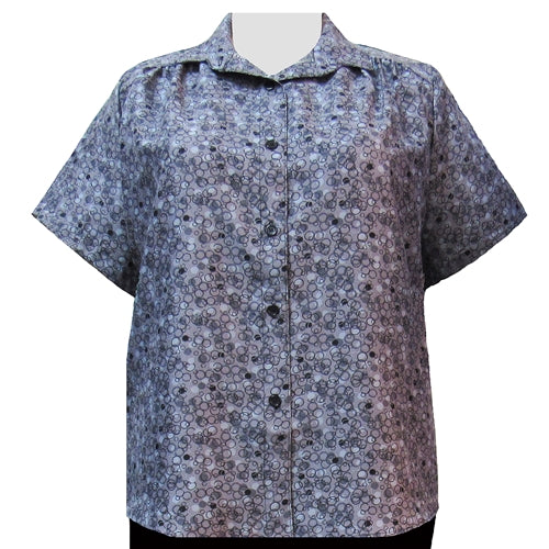 Grey Le Cirque Short Sleeve Tunic with Shirring Women's Plus Size Blouse