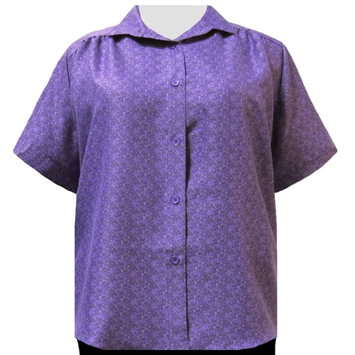 Purple Cora Short Sleeve Tunic with Shirring Women's Plus Size Blouse