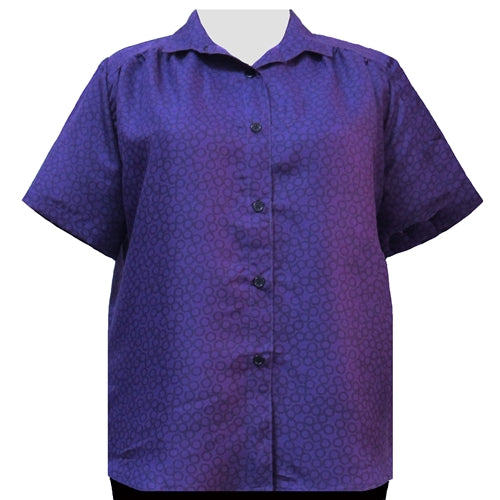Purple Flo Short Sleeve Tunic with Shirring Women's Plus Size Blouse