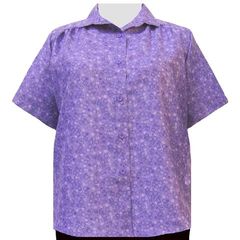 Purple Le Cirque Short Sleeve Tunic with Shirring Women's Plus Size Blouse