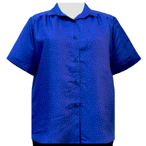 Royal Wreath Short Sleeve Tunic with Shirring Women's Plus Size Blouse