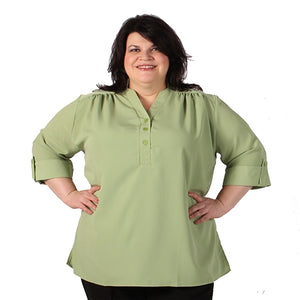 Kiwi Green Pullover Placket Blouse - Women's Plus Size Blouse