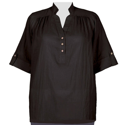 Black Cotton Gauze Pullover Placket Blouse Women's Plus Size Blouse