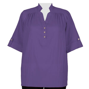 Purple Cotton Gauze Pullover Placket Blouse Women's Plus Size Blouse