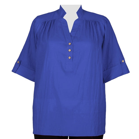 Royal Cotton Gauze Pullover Placket Blouse Women's Plus Size Blouse