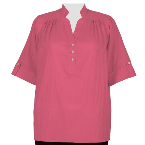 Strawberry Cotton Gauze Pullover Placket Blouse Women's Plus Size Blouse