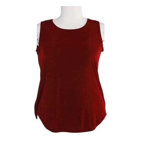 Red Slinky Sleeveless Shell Women's Plus Size Top