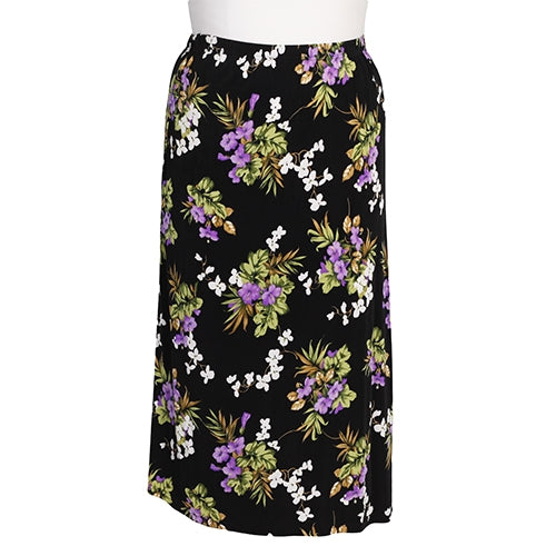 Black Floral Long A-Line Skirt Women's Plus Size Skirt