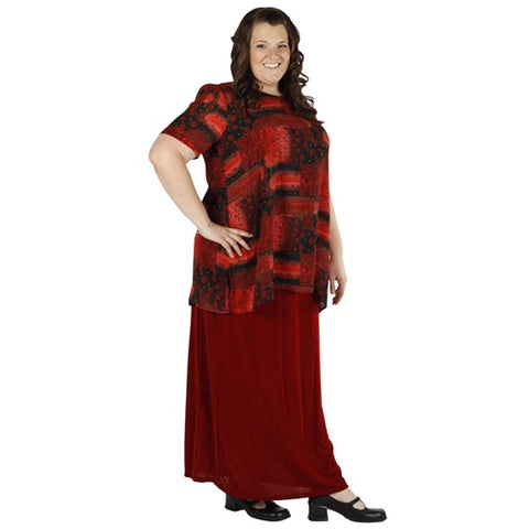 Red Long A-Line Skirt Women's Plus Size Skirt