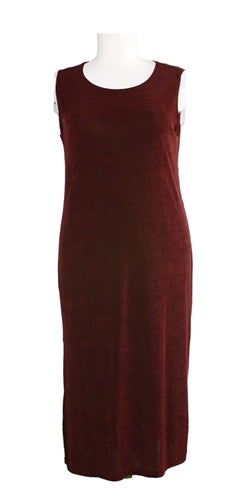 Brick Red Long Sleeveless Slinky Dress