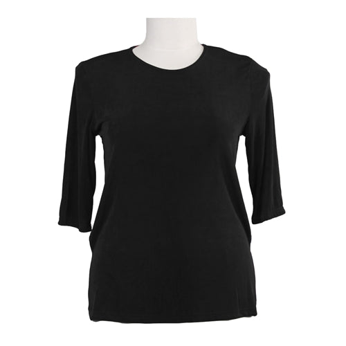 Black Slinky 3/4 Sleeve Round Neck Women's Plus Size Top