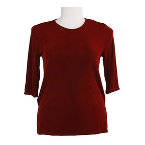 Red Slinky 3/4 Sleeve Round Neck Women's Plus Size Top