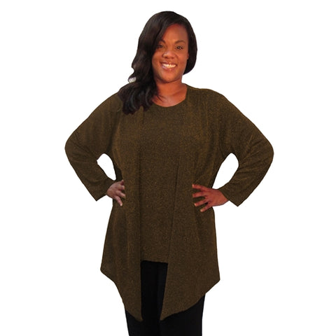 Copper Sparkle Drape Cardigan Women's Plus Size Cardigan