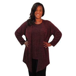 Ruby Sparkle Drape Cardigan Women's Plus Size Cardigan